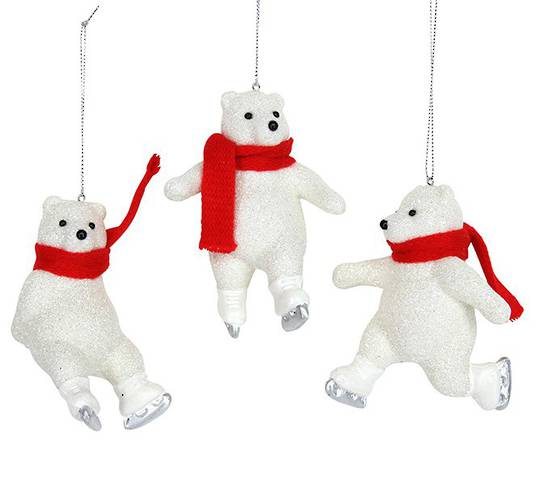 Glitter Polar Bear with Red Scarf