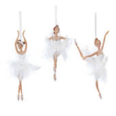 Resin Fabric White Iridescient Ballerina 19cm SOLD OUT