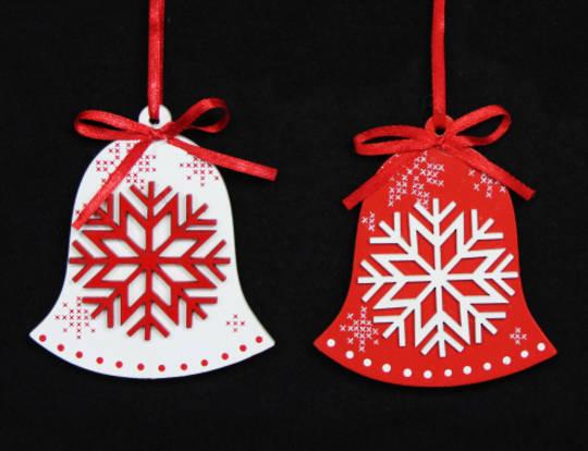 Wood Scandi Snowflake Bell