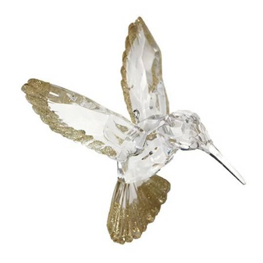 Acrylic Clear and Gold Glitter HummingBird 11cm