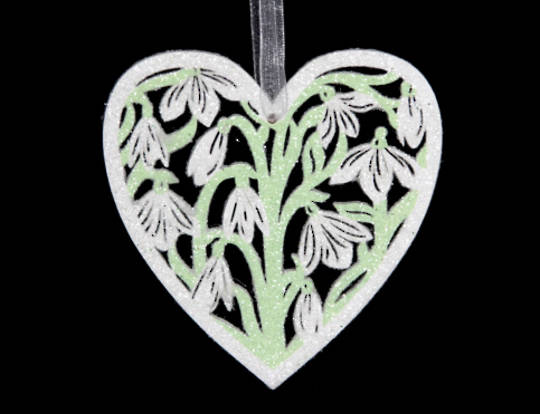 Wood Fretwork Heart with Snowdrop
