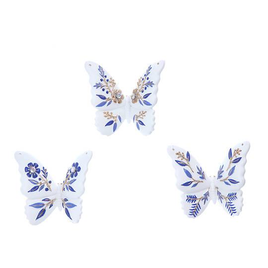 Resin White Blue Gold Butterfly 7cm