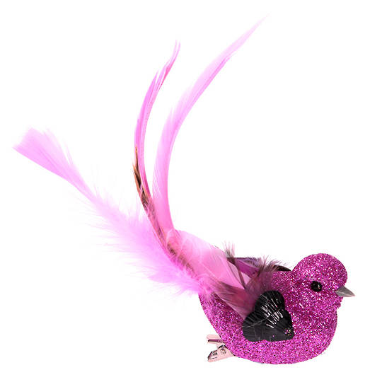 BirdClip Fushia Glitter Bead LongTail 12cm