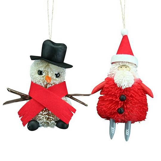 Bristle Christmas Santa / Snowman 14cm