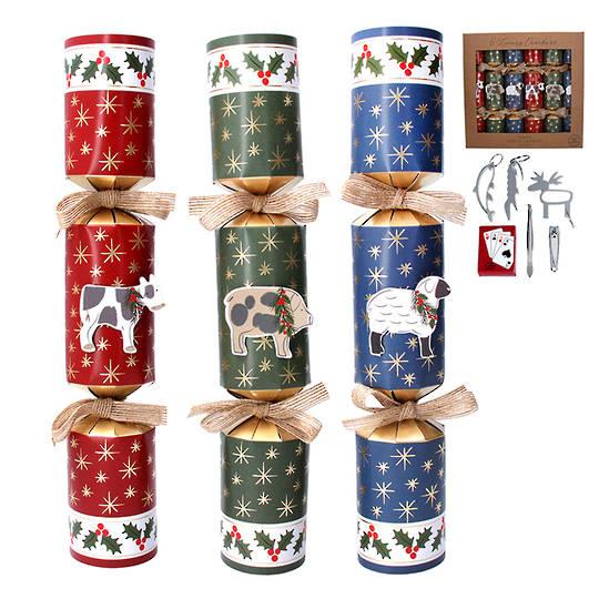 Christmas Crackers Set 6, Farm