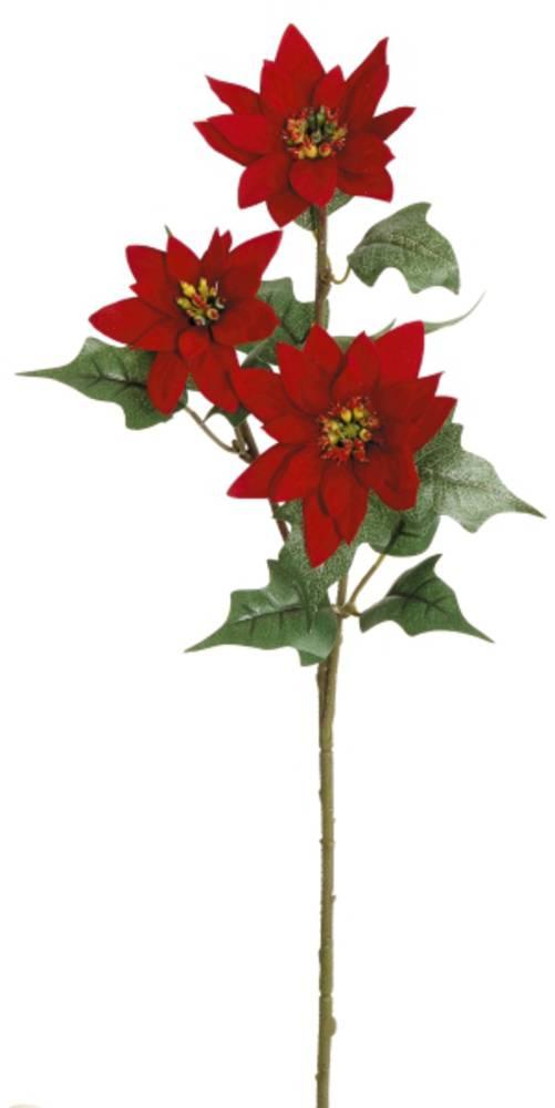 Velvet Poinsettia Spray 56cm