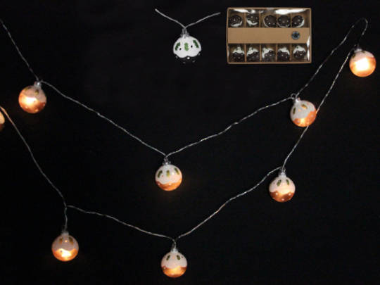 Glass Xmas Pudding LED Lights 1.8 mtr