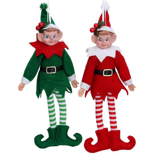 Sitting Elf Santa, Fabric Arcrylic 31cm
