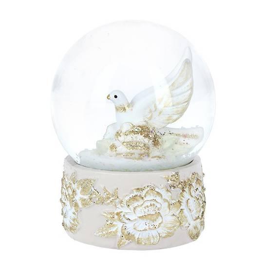 Mini Snow Globe, Cream and Gold Doves