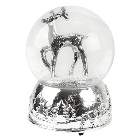Musical SnowGlobe, Silver Reindeer