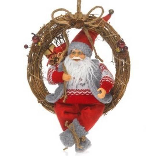 Twig Wreath with Santa 40cm