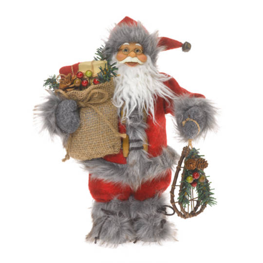 Santa 30cm  Red Coat w/Grey Fur Trim. Snow Shoes and Sack