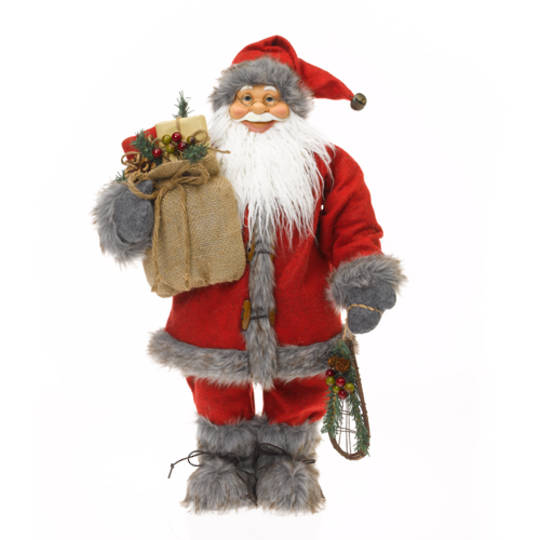 Santa Red Coat & Grey Fur Trim