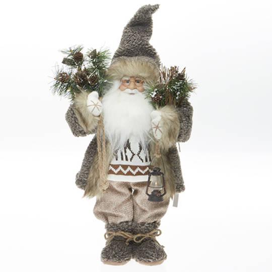Santa, Brown Coat with Reindeer Jumper Trim