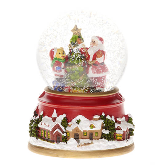 Musical LED SnowGlobe Santa & Teddy Decorating the Tree