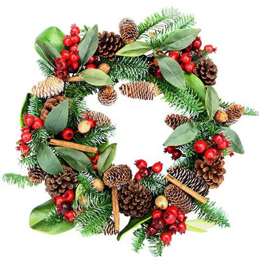 Fir Wreath with Cinnamon, Berry, Pinecones and Leaves 55cm