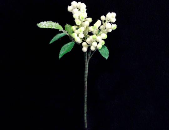 White & Green Berry & Leaf Pick 12cm