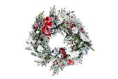 Snowy Fir Wreath with Red and White Flowers 45cm