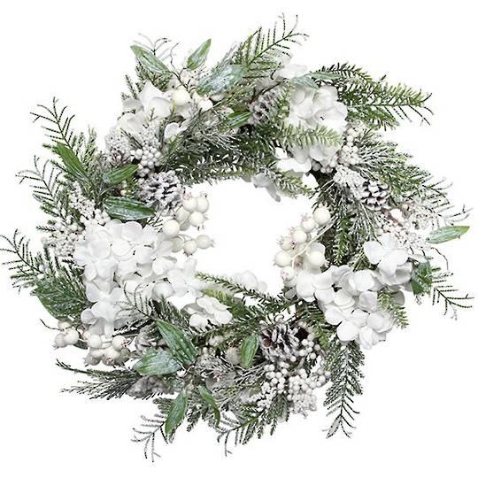 Wreath, Snowy Leaves, White Flowers & Berries 55cm