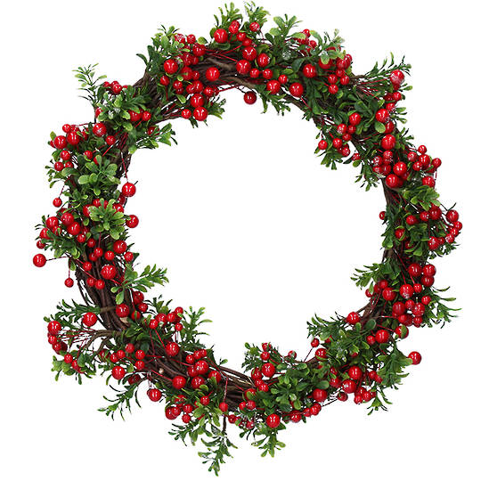 Red Berries with Green Leaves Wreath 40cm SOLD OUT