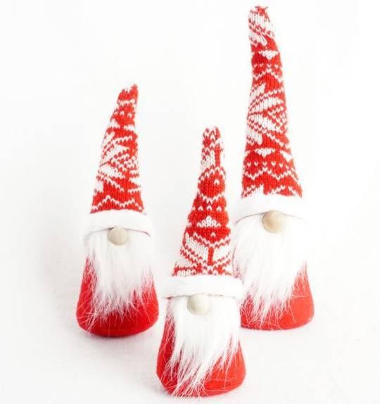 Mini Slim Santa Red Knit Snowflake Hat