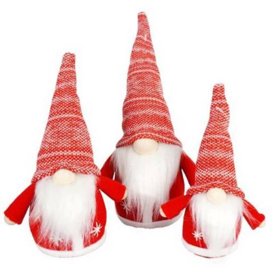 Mini Santa Red Knit Snowflake Hat