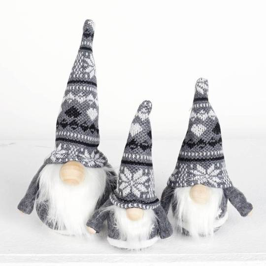 Mini Santa Grey Knit Snowflake Hat