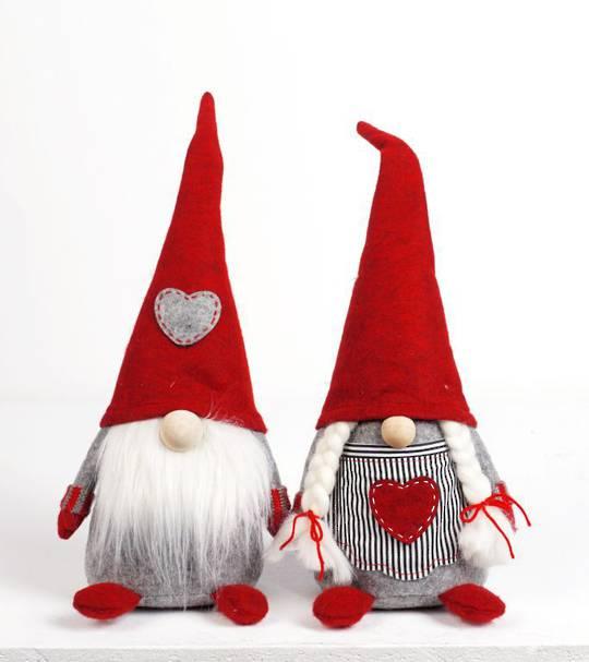 Plush Nordic Mr or Mrs Xmas Gnome Sml