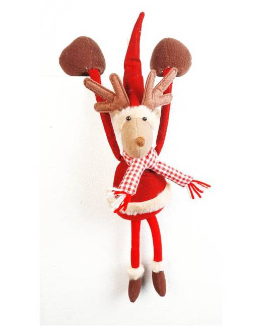 Hanging Reindeer, Red Check Scarf