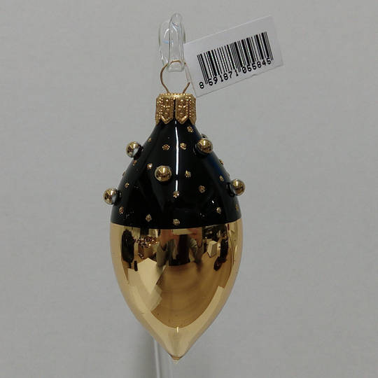 Glass Olive Gold with Black Decor and Stones 8cm