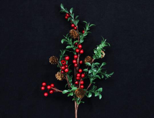 Red Berry, Green Leaf Branch 60cm