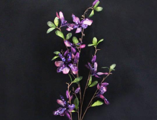 Magnolia Spray Purple Fabric and Glitter 50cm
