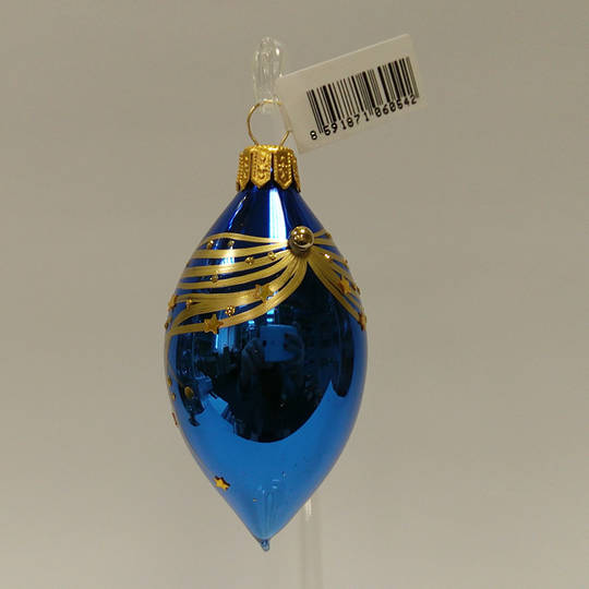 Glass Olive Metallic Blue with Gold Lines and Stars 8cm
