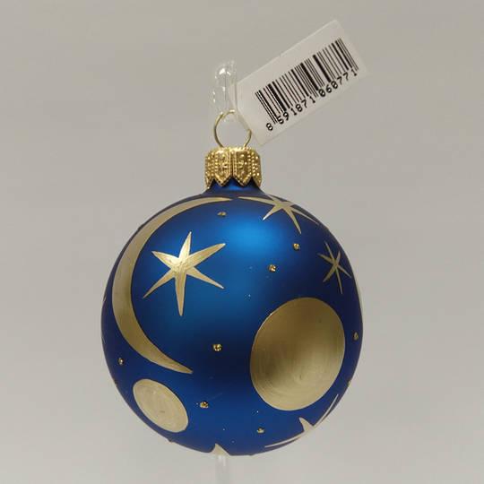 Glass Ball Matt Metallic Blue with Matt Gold Moons And Stars 6cm