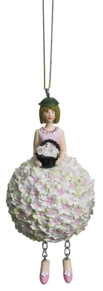 Hanging Flower Girl Hydrangea Rose/Green 11cm