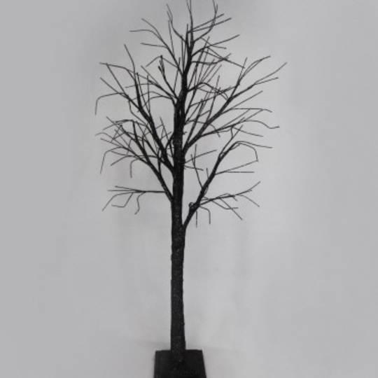 Black Glitter Spikey Tree Sml 1.25 mtr