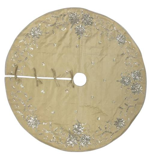Xmas Tree Skirt, Silky Gold with Silver Sequins