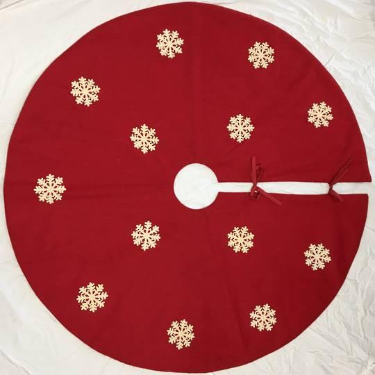 Xmas Tree Skirt, Red Felt with White Felt Snowflakes