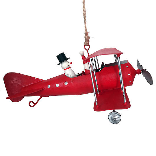 Tin Santa and Snowman in Red Bi-Wing Plane