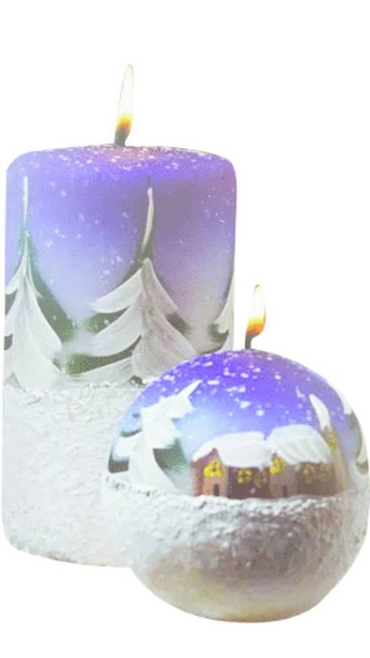 Candle Blue/White Snowy Xmas Landscape