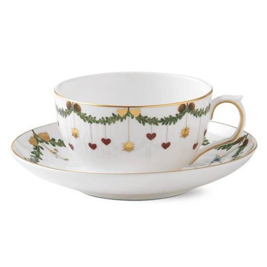 StarFluted Christmas Latte Cup & Saucer