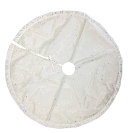 Xmas Tree Skirt, White with Silver Stars and White Fringe