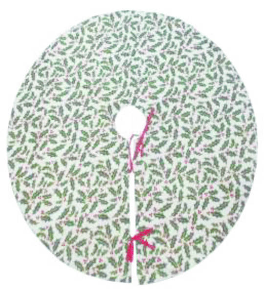 Xmas Tree Skirt, Holly Pattern