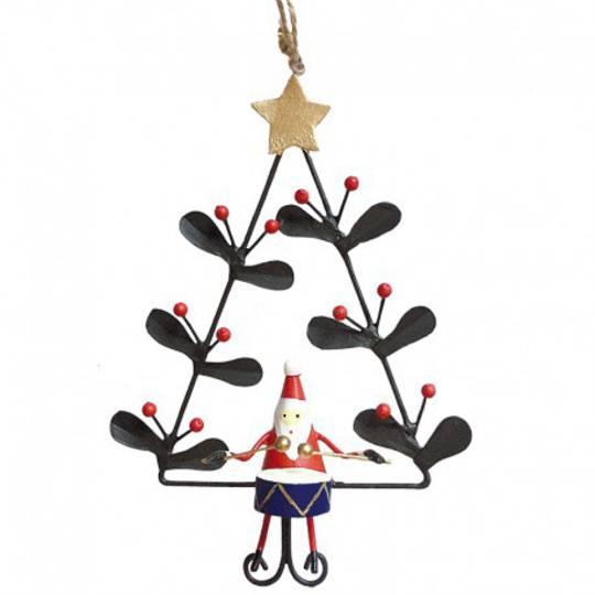 Tin Santa with Drum in Xmas Tree