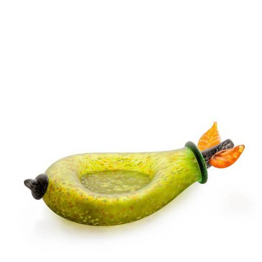 Artglass Pear Fruit Bowl. Green