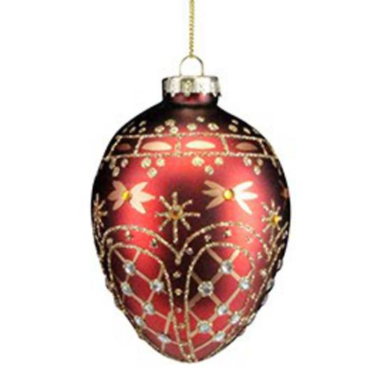 Glass Egg, Red and Gold 10cm