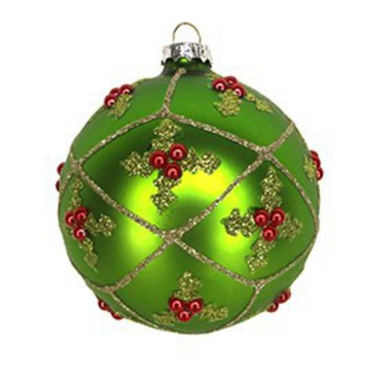 Glass Ball Matt Grass Green, Holly in Trellis 8cm