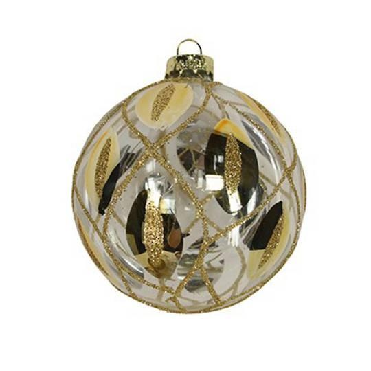 Glass Ball Clear, Gold Trellis 8cm