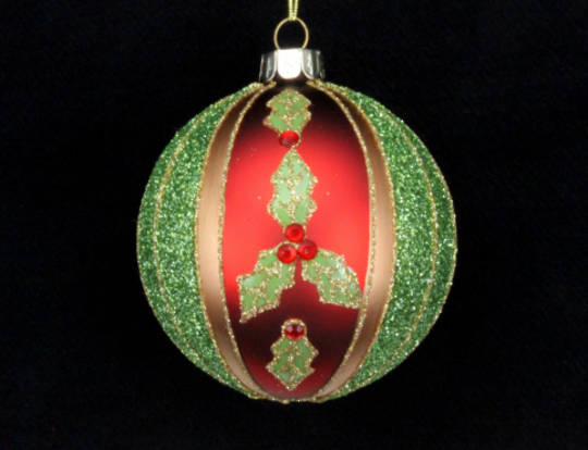 Glass Ball Red, Gold & Green Stripe with Holly 8cm