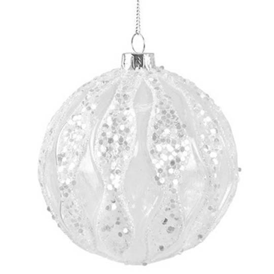 Glass Ball Clear, Iridescent Glitter Waves 8cm